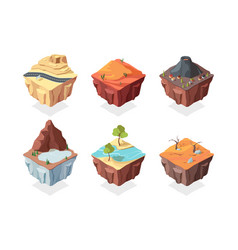 isometric island game landscapes set red desert vector image