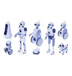 isometric robots digital robotic machines vector image