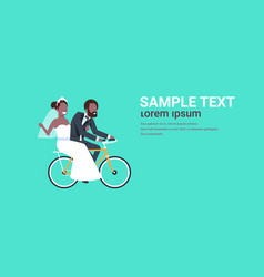 Just married african american couple riding vector
