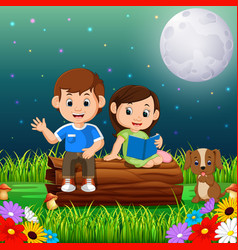 kids reading books at night in the park vector image