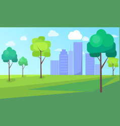 Landscape scenery of city park with green trees vector