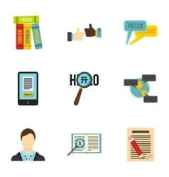 Language learning icons set flat style vector