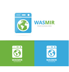 laundry and world logo combination vector image