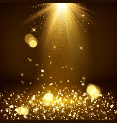 light rays and golden falling glittering dust vector image