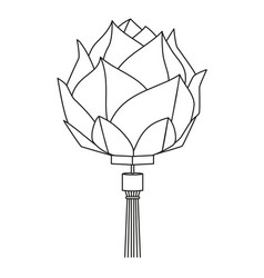 Line art black and white chinese lotus lantern vector