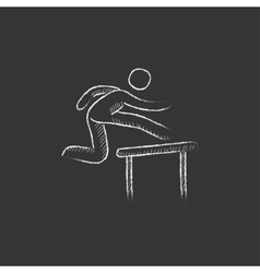 Man running over barrier Drawn in chalk icon vector