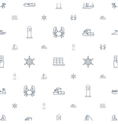 Marine icons pattern seamless white background vector