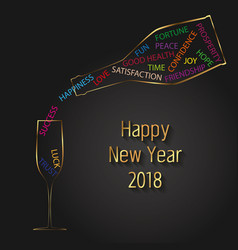New year 2018 typography champagne bottle glass vector