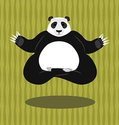 Panda Yoga Chinese bear on background of bamboo vector