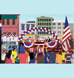 people celebrating fourth of july parade vector image