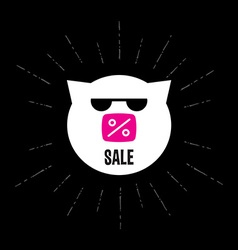 Pig in sunglasses with inscription sale or d vector image