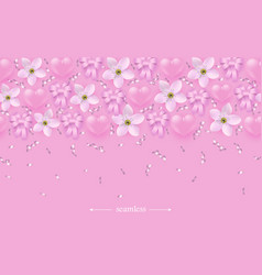 pink hearts flowers and ribbons seamless border vector image