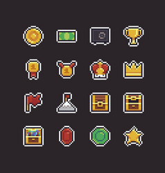 Pixel art rewards vector