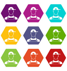 plumber icon set color hexahedron vector image