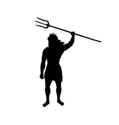 Poseidon neptunus god silhouette ancient mythology vector