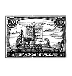 postage stamp with ship vector image vector image