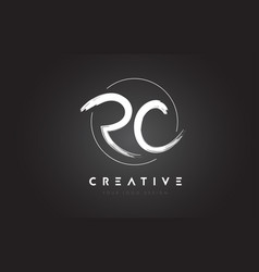 Rc brush letter logo design artistic handwritten vector