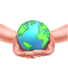 realistic hands holding earth planet eco vector image