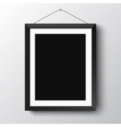 Realistic vertical black photo picture frame vector