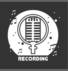 recording studio black and white emblem vector image