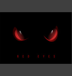 Red evil eyes on black background vector