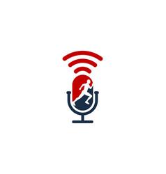 Run podcast logo icon design vector