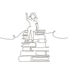 schoolgirl - one line design style vector image