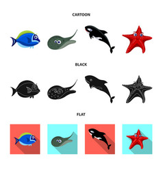 sea and animal icon set of vector image