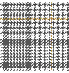 Seamless glen plaid pattern grey gold white vector