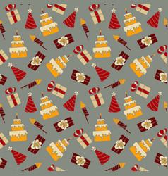 seamless pattern birthday celebration vector image
