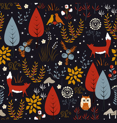 Seamless pattern with forest plants vector