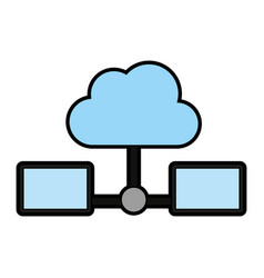 Servers with cloud storage related icon image vector