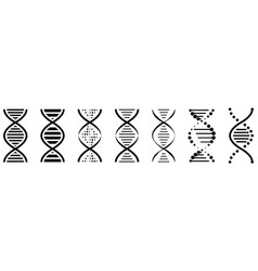 set of dna icons pictograph of dna symbol isolated vector image