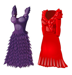 set of two dresses purple and red vector image