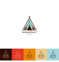 Set of wigwam logo vector image