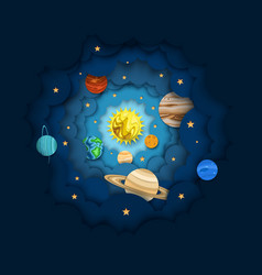Solar system layered paper cut style vector