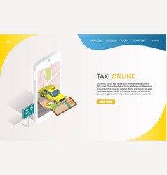 Taxi online landing page website template vector