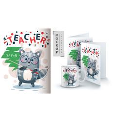 teacher cat - mockup for your idea vector image