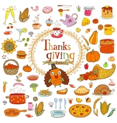 Thanksgiving food doodles vector image
