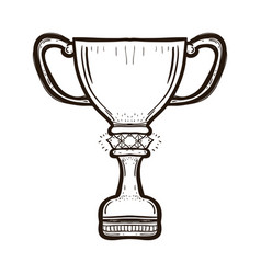 trophy cup of the victory team coloring book vector image