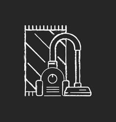 Vacuuming chalk white icon on black background vector