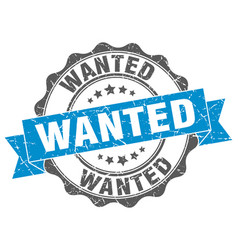 Wanted stamp sign seal vector