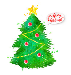 Watercolor of christmas tree vector