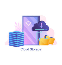 web hosting and cloud storage concept vector image