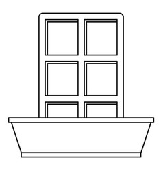 window and flowerbox icon outline style vector image