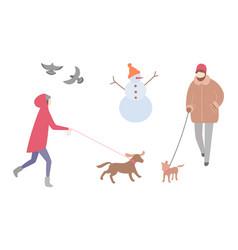 woman walking dog winter season activity outdoors vector image