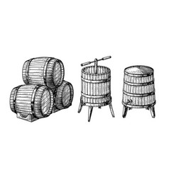 Wooden barrels and press vector