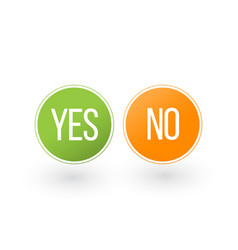 Yes and no button icons isolated on white vector