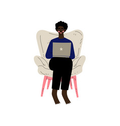 young african american man sitting in armchair vector image
