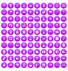100 family camping icons set purple vector